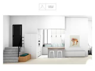 La cuisine avec son il^ot en délimitation de pièce.: Cuisine de style  par SLOWOOD / MOUVANCE DESIGN