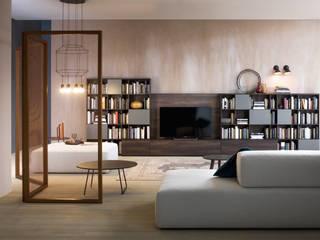 Bücherwand mit TV Paneel:  Wohnzimmer von Livarea