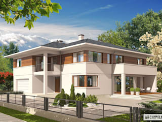 PROJEKT DOMU NATI G2 : styl , w kategorii Domy zaprojektowany przez Pracownia Projektowa ARCHIPELAG,Nowoczesny