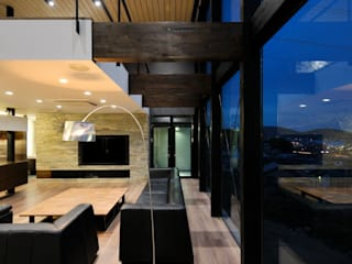 株式会社 Atelier-D Modern living room Stone Brown