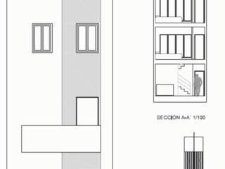 Vivienda entre medianeras, estructura delicada por rollizos de madera: Casas de estilo  de Estudio de arquitectura Blas Blanco Marín