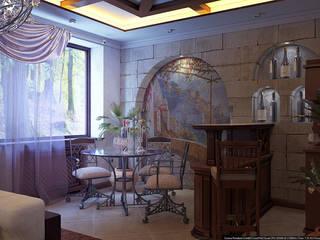 Зал средиземноморский стиль Терраса в колониальном стиле от Architoria 3D Колониальный