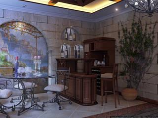 Зал средиземноморский стиль Медиа комната в колониальном стиле от Architoria 3D Колониальный