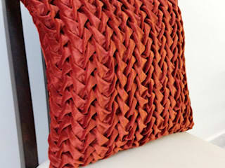 Textured Handmade Cushion Covers KnotnStitch BedroomAccessories & decoration Textile Orange