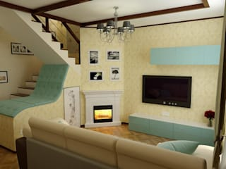 Country style living room by Цунёв_Дизайн. Студия интерьерных решений. Country