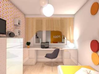 Wizualizacja. Pokój małej Mai. Panele Dots.: styl , w kategorii  zaprojektowany przez FLUFFO fabryka miękkich ścian
