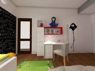 Wizualizacja. Pokój dziecięcy. Panele Pixel.: styl , w kategorii  zaprojektowany przez FLUFFO fabryka miękkich ścian