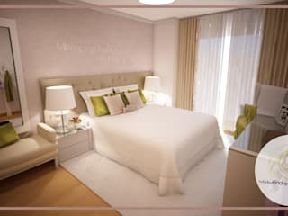 Projecto de Decoração de Suite: Quartos  por Andreia Louraço - Designer de Interiores (Contacto: atelier.andreialouraco@gmail.com)