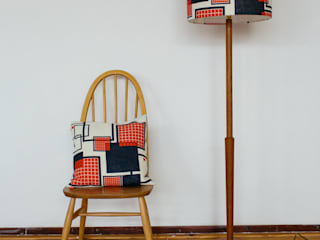 Linen Grid Lampshade 40cm - Red & Blue:   by Laura Spring