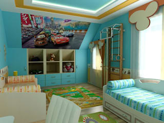 """Детская Мансардная """"Тачки"""": Детские комнаты в . Автор – Цунёв_Дизайн. Студия интерьерных решений."""