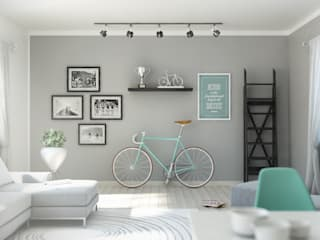 Living of a cycling lover: Soggiorno in stile  di Elisabetta Goso >architect & 3d visualizer<