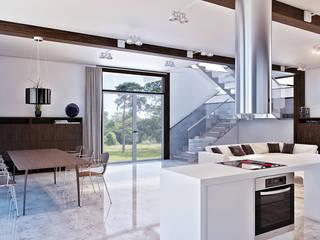 Современный фахверк clear-house Гостиная в стиле модерн