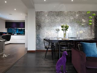 Luxury Modern Cottage Buckinghamshire Quirke McNamara Eclectic style dining room Metallic/Silver