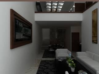 RESIDENCIA LAS FUENTES: Salas de estilo  por OLLIN ARQUITECTURA