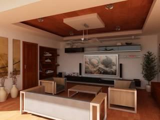 SALA DE ENTRETENIMIENTO: Salas multimedia de estilo  por OLLIN ARQUITECTURA