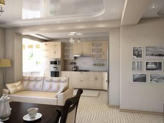Дизайн интерьера квартиры - студии Гостиные в эклектичном стиле от Студия дизайна и проектирования ТОН Эклектичный