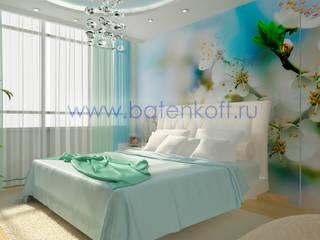 Дизайн проект спальни в современном стиле на Юмашева от дизайн студии Батенькофф.: Спальни в . Автор – Дизайн студия 'Дизайнер интерьера № 1'