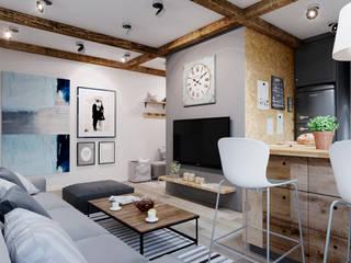 Малогабаритная квартира Гостиная в скандинавском стиле от Elena Arsentyeva Скандинавский