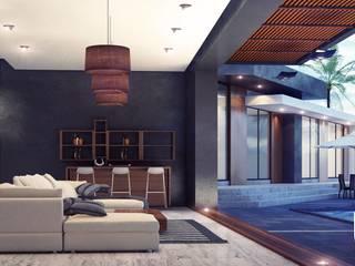 CASA PR Salones modernos de 12.20 Estudio de Arquitectura Moderno