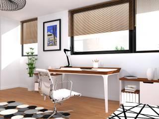 Gabinet - biurko do pracy wraz z podręczną szafką na dokumentację: styl , w kategorii Domowe biuro i gabinet zaprojektowany przez Przytulne Wnętrze