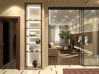 Aledoconcept Modern Corridor, Hallway and Staircase Beige