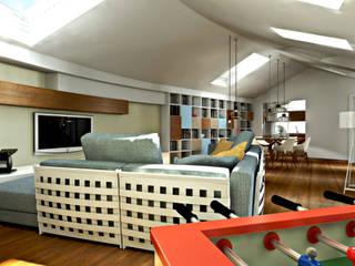 Progetto per la ristrutturazione di un grande attico con terrazzo pertinenziale: Soggiorno in stile in stile Moderno di AAA Architettura e Design