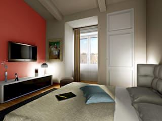 Virtual home staging case private: Camera da letto in stile  di AAA Architettura e Design