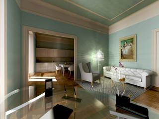 Virtual home staging case private: Soggiorno in stile in stile Moderno di AAA Architettura e Design