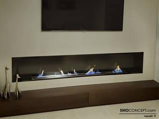 Decoración de interiores con chimenea de bioetanol panorámica Salones de estilo minimalista de Shio Concept Minimalista