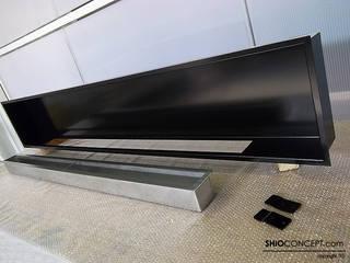 Chimenea de bioetanol panorámica encastrada en pared de Shio Concept Minimalista Hierro/Acero