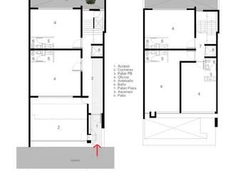 """EDIFICIO DE OFICINAS """"AMEGHINO 1885"""": Estudios y oficinas de estilo  por YANCARELLI - GOMEZ CODINA arquitectos"""