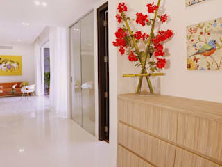 NANDA RESIDENCE Uber space Modern corridor, hallway & stairs Wood effect