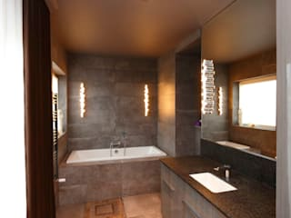 mroczna elegancja-strefa spokojnego snu ;-)….. livinghome wnętrza Katarzyna Sybilska Nowoczesna łazienka Kamień Brązowy