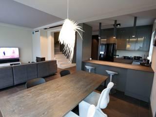 livinghome wnętrza Katarzyna Sybilska Modern kitchen Wood Grey