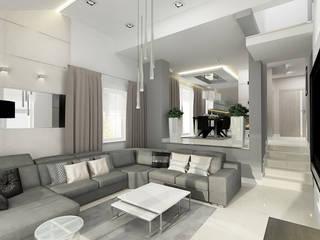 INVENTIVE INTERIORS - Klimatyczny dom w szarościach: styl , w kategorii Salon zaprojektowany przez Inventive Interiors