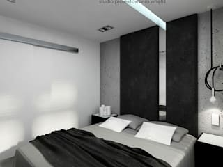Beton w sypialni: styl , w kategorii Sypialnia zaprojektowany przez Inventive Interiors