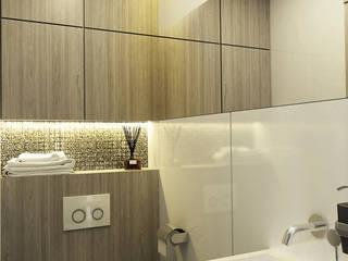 Mała łazienka - biały lacobel i jasne drewno Nowoczesna łazienka od Inventive Interiors Nowoczesny Drewno O efekcie drewna