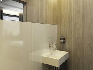 Mała łazienka - biały lacobel i jasne drewno Nowoczesna łazienka od Inventive Interiors Nowoczesny Szkło
