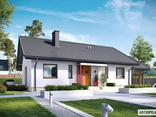 PROJEKT DOMU KORNEL VI (z wiatą) ENERGO : styl , w kategorii Domy zaprojektowany przez Pracownia Projektowa ARCHIPELAG,Nowoczesny