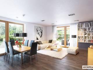 PROJEKT DOMU KORNEL VI (z wiatą) ENERGO : styl , w kategorii Salon zaprojektowany przez Pracownia Projektowa ARCHIPELAG,Nowoczesny