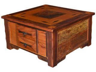 Mesas de Centro Rústicas Plainadas Ornamentadas com trabalho de Marchetaria. por Arte Móveis Rústicos Rústico