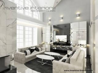 Elegancki salon z beżem i czernią Klasyczny salon od Inventive Interiors Klasyczny