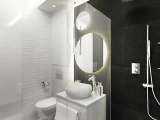 Biało czarna łazienka z okrągłymi lustrami: styl , w kategorii Łazienka zaprojektowany przez Inventive Interiors