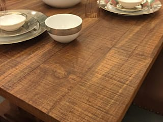 Classic dining look with antique grey finish on teak:   by INHABIT