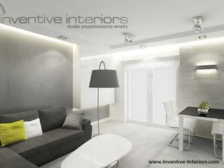 Biało szary salon Minimalistyczny salon od Inventive Interiors Minimalistyczny