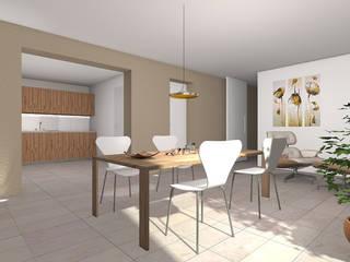 Casa C+R: Sala da pranzo in stile  di Davide Randi Architetto