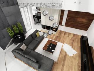 INVENTIVE INTERIORS – Dom z wysokim salonem Nowoczesny salon od Inventive Interiors Nowoczesny Drewno O efekcie drewna