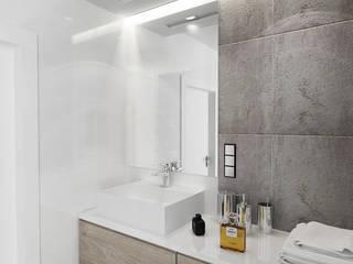 Płytki imitujące beton Minimalistyczna łazienka od Inventive Interiors Minimalistyczny