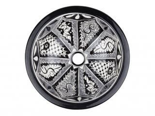 Umywalki wpuszczane okrągłe małe z Meksyku Kolory Meksyku ŁazienkaUmywalki Ceramika Czarny