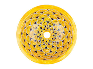 Umywalki wpuszczane okrągłe małe z Meksyku Kolory Meksyku ŁazienkaUmywalki Ceramika Żółty